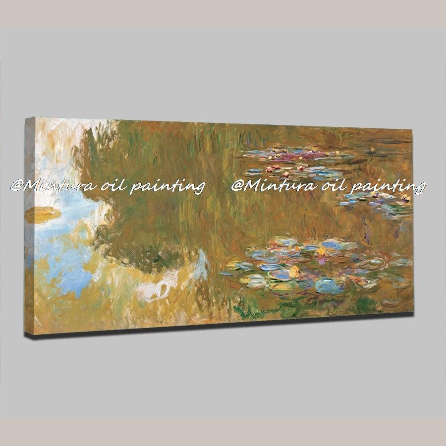 Peint à la main l'étang des nénuphars par Claude Monet peinture à l'huile sur toile peinture murale photo pour salon décoration de la maison