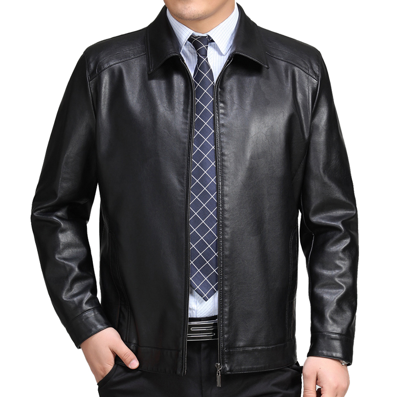 AYUNSUE Mens Geniune Leather Jacket Real Sheepskin Leather Plus Size Jackets Campera Hombre Jaqueta de couro MF136