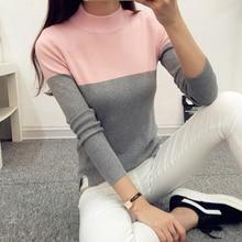 Vysoce elastický dámský svetr s vyšším límcem