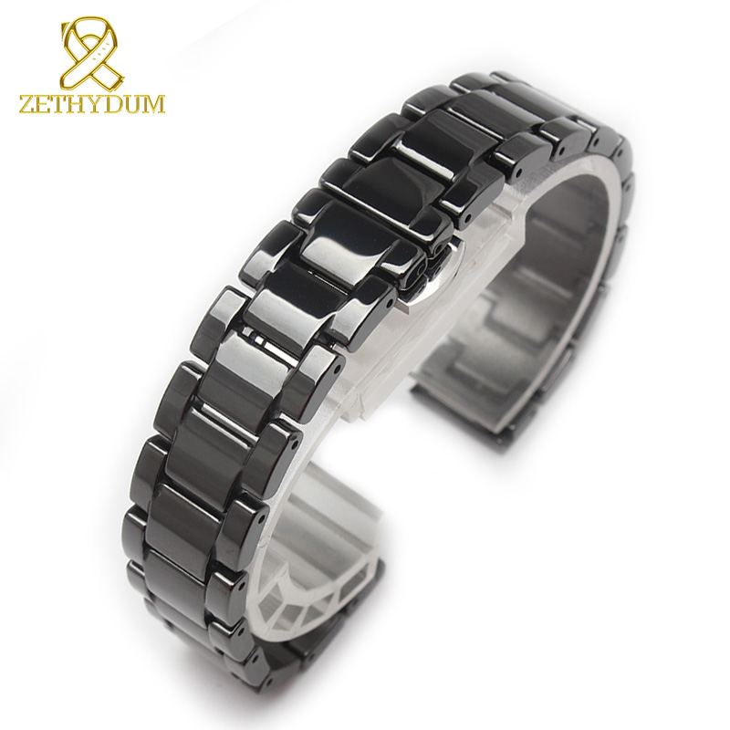 Ceramic watch bracelet 14 15 16 17 18 19 20 21mm watchband white black strap wristwatches band not fade water resistant