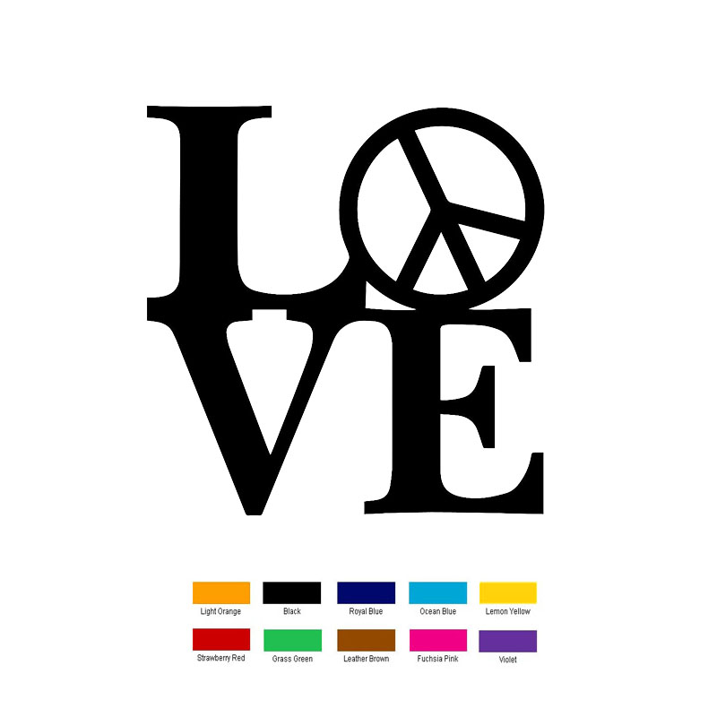 Car styling 15cm x 15cm Love With Peace Car Sticker For Truck Window Bumper Auto SUV Door Laptop Kayak Vinyl Decal 11 Colour Jdm