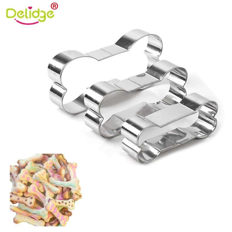Delidge 3pcs/set DIY Dog Bone Shape Cookie Mold Stainless Steel Cake Decoration Mold Birthday Party Biscuit Cutter Baking Tool