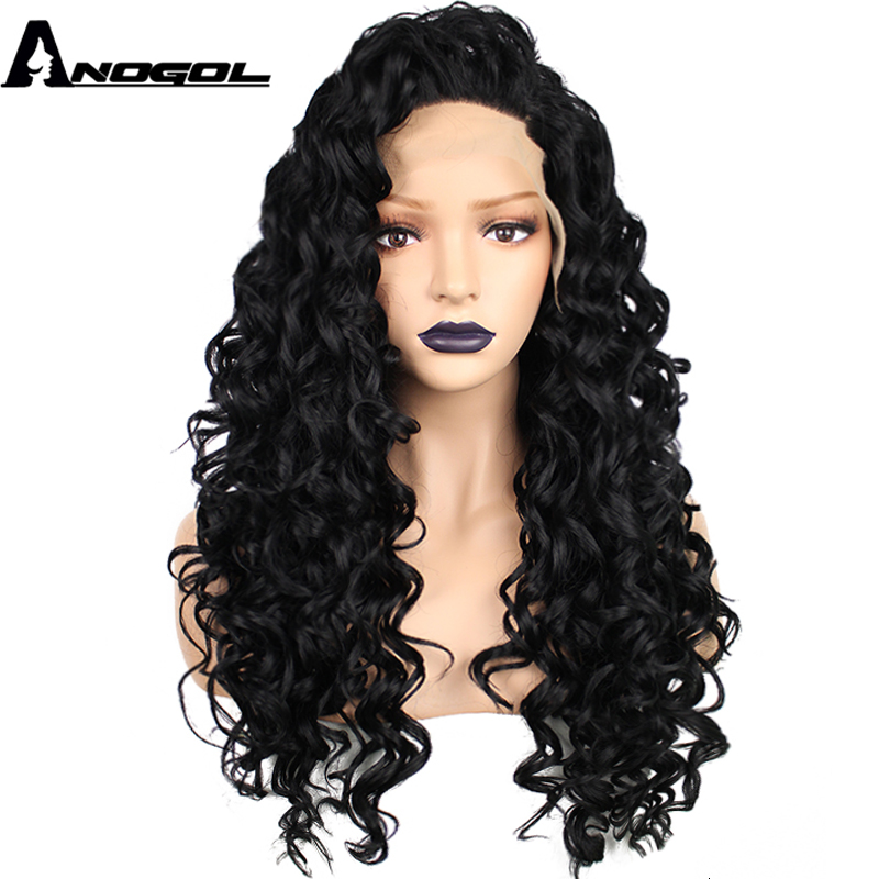 Anogol High Temperature Fiber Brazilian Perruque Hair Long Kinky Curly Black Synthetic Lace Front Wig For African American Women