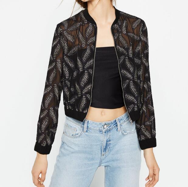 Vogain 2016 Women Short Black Sheer Bomber Jacket With Gold Leaf