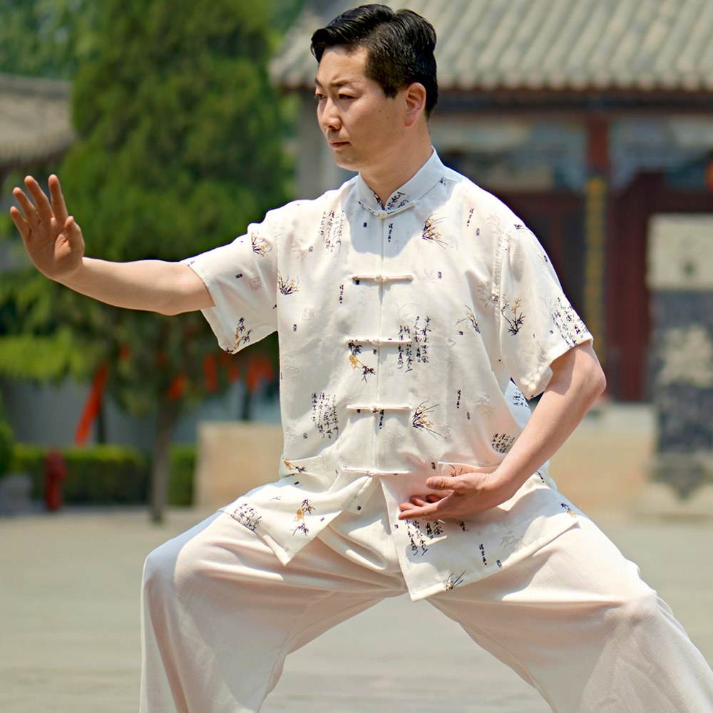 ФОТО Li Qiang new spring linen men loaded short sleeved summer special tai chi clothing martial arts exercise power suit
