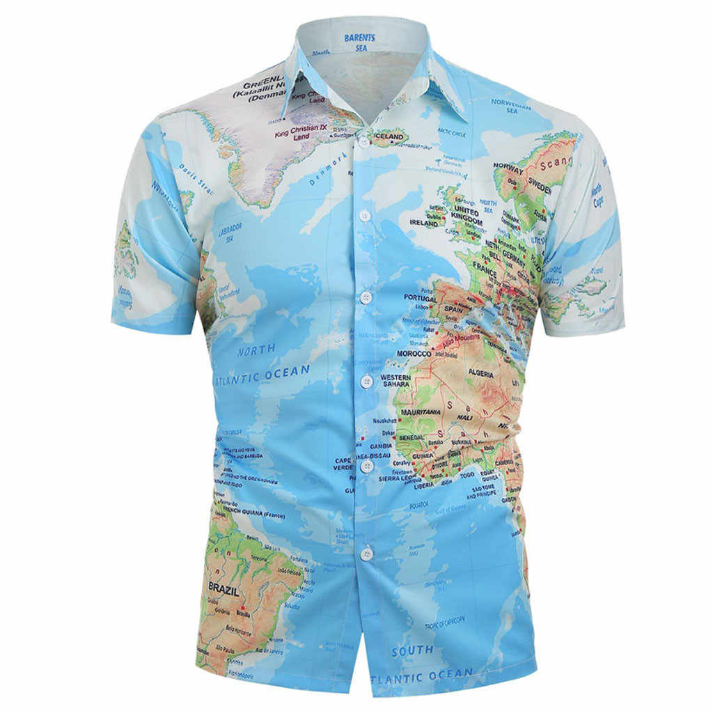 1f4b67d419f feitong Men World Map Print With Button Shirt Summer Top Blouse 2019 New  Fashion Printed Casual Short Sleeve Shirt Men Blouses