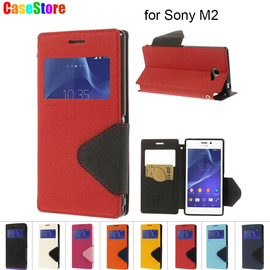 For Sony Xperia M2 Case Roar Korea Diary Smart View Window Flip Leather Case Phone Cover For Sony M2 D2305 / M2 Dual D2302 Cases