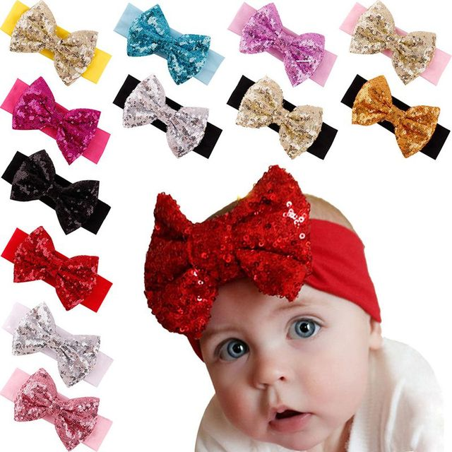 Christmas Headbands For Girls.1pc Kids 5 Big Sequin Bow Headband Cotton Christmas Headbands Girls Hair Band Hairbow Headwear Girl Hair Accessories F120 In Hair Accessories From