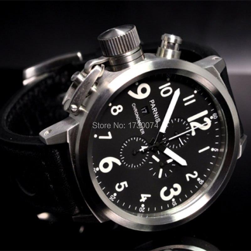 50mm PARNIS montre pour hommes cadran noir blanc marques gauche couronne bracelet en cuir chronographe complet mouvement à quartz montre bracelet P34-in Montres à quartz from Montres    2