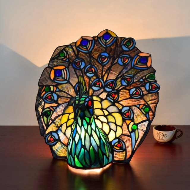 European Style Tiffany Art Glass Peacock Table Lamp Thai Phoenix Bar Living Room Dining Bedroom