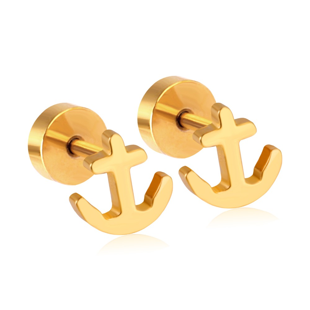 2b48869e3 Unique Gold Earrings Baby Jewelry Stainless Steel Screw Stud Earrings  DropShipping Female Accessories Bijoux