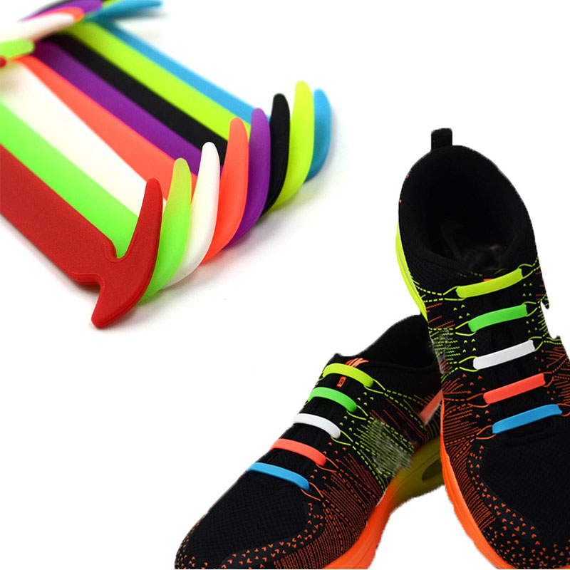 12pcs/lot Practical Fashionable Men Women Lazy Hammer Type No Tie Shoelaces Elastic Silicone Shoelaces