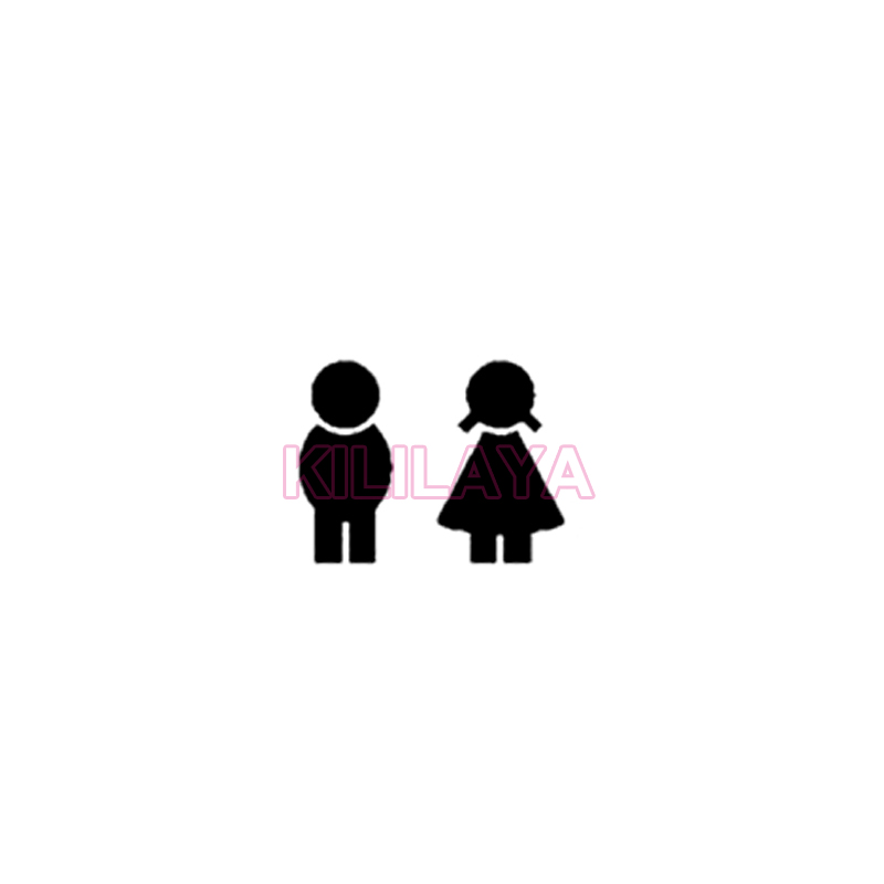 Sticker Cute Boy and Girl Toilet Door Sign Bathroom Sign Vinyl