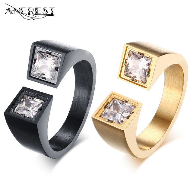99bc5e8d814 Wholesale Stainless steel rings men rings Two colors AAA cubic zirconia  polished Black gold Minimalist men jewelry with stones
