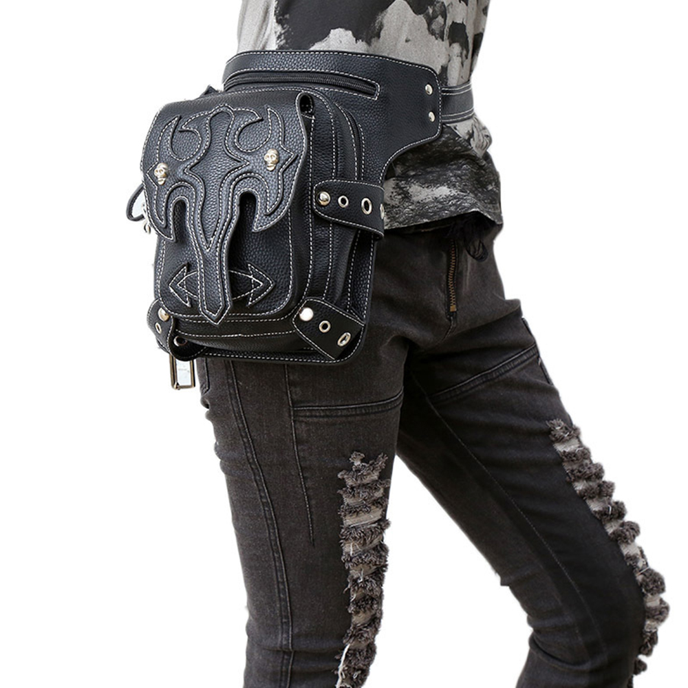 New Black Bag Pu Leather Motorcycle Bag Female Cool Multi-function Travel Fashion Riding Leg Bag Girls Leather Handbag pu leather metal multi zips handbag