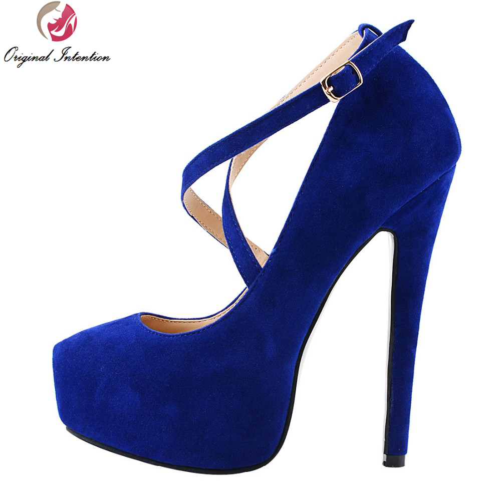 Original Intention High-quality Women Pumps Flock Sexy Round Toe Thin Heels Pumps Blue Fashion Shoes Woman Plus Size fashion women pumps flock high heels