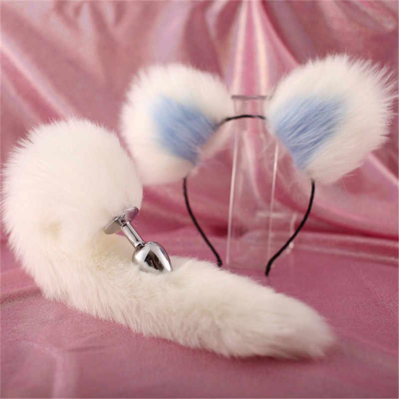 สัตว์บทบาทอุปกรณ์เสริมเพศเล่นคลิป Ear Fox Tail ชุดเซ็กซี่ Butt Plug ผู้ใหญ่โลหะปลั๊กยาว Anal Plug flirting ของเล่น Cosplay