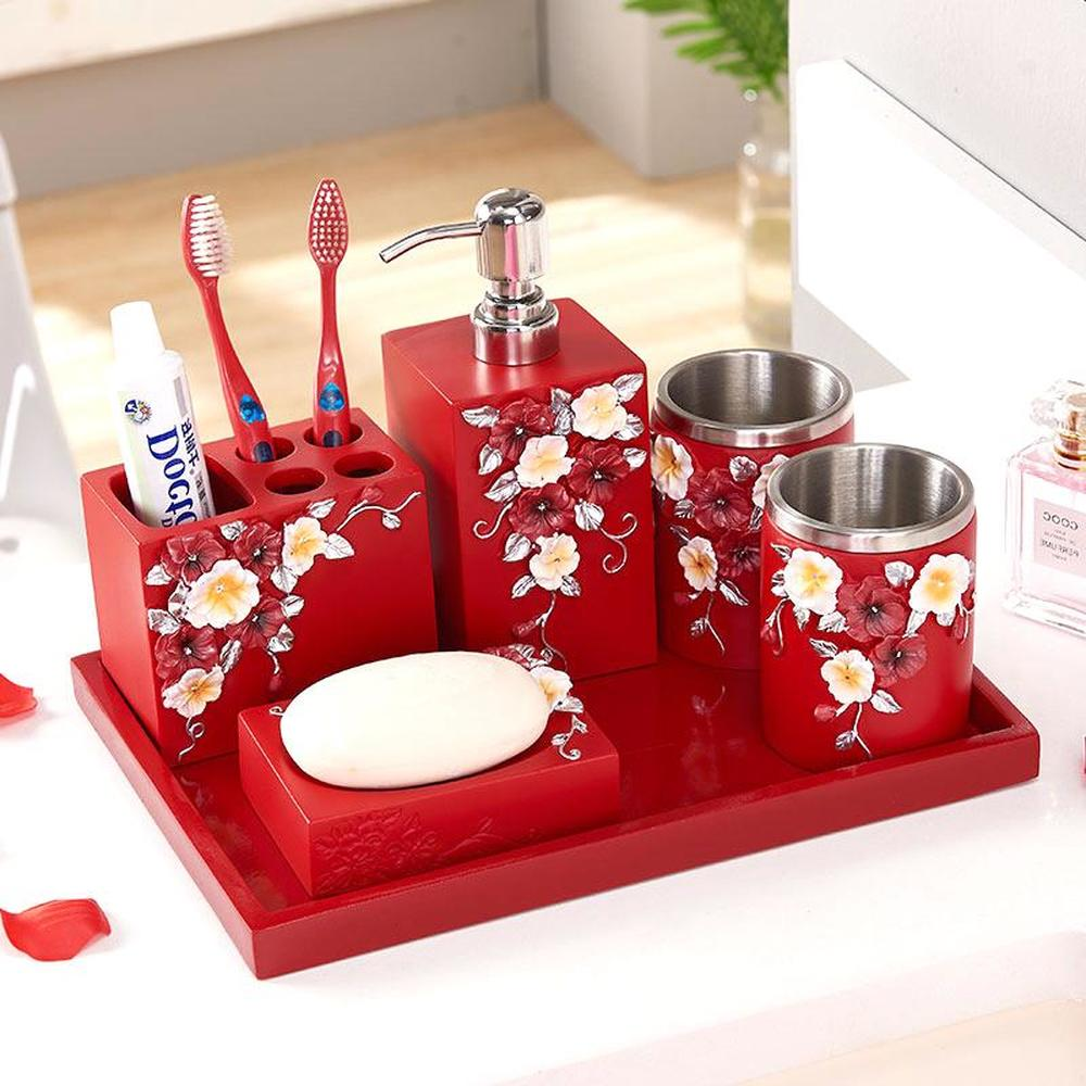 Bathroom five-piece wash set creative bathroom supplies wash cup brush tooth cup mouth mug wedding housewarming LO725603 five little monkeys wash the car