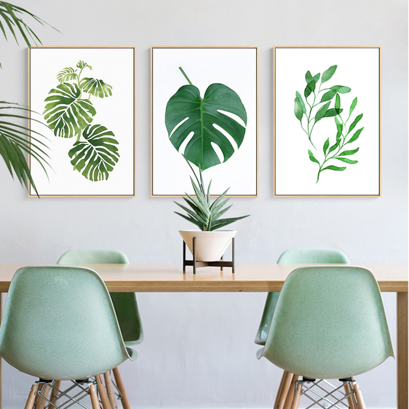 Modern Green Natural Leaves Painted Canvas Nordic Wall Art Pictures Posters Prints for Kitchen Living Room Home Office Decor