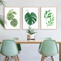 Modern Green Natural Leaves Canvas Paintings Nordic Wall Art Pictures Posters Prints for Kitchen Living Room Home Office Decor