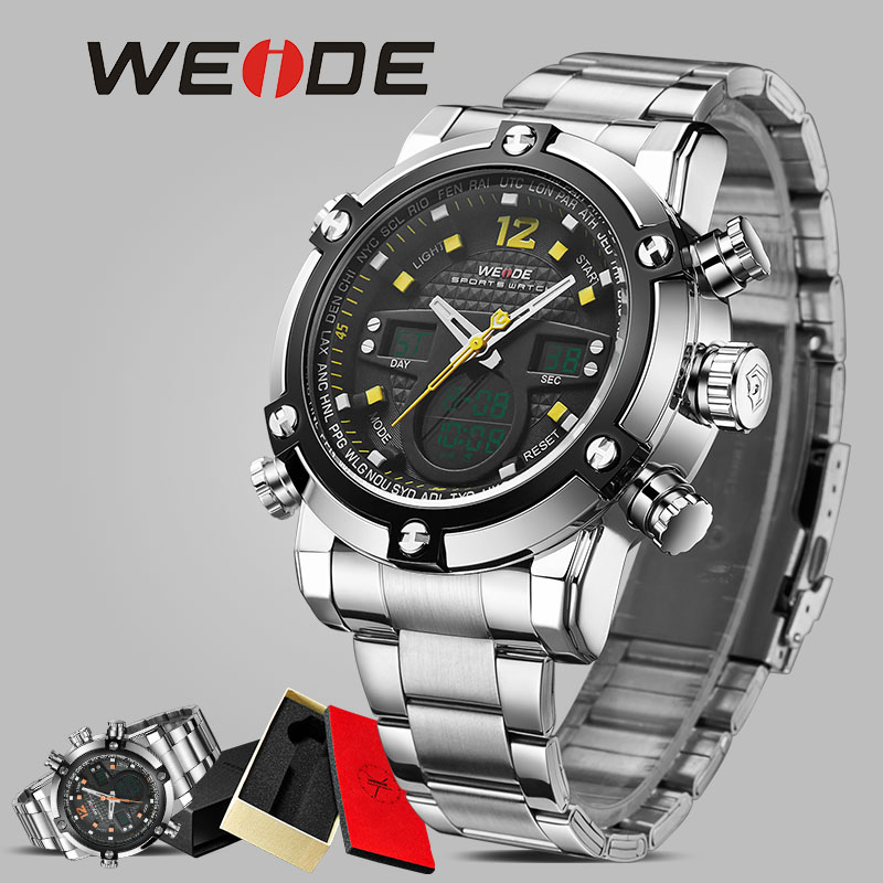 WEIDE Stainless Steel Sport orologio clock men automatic digital electronic watch LCD camping watches led quartz wristwatch 5205 drop shipping gift boys girls students time clock electronic digital lcd wrist sport watch july12