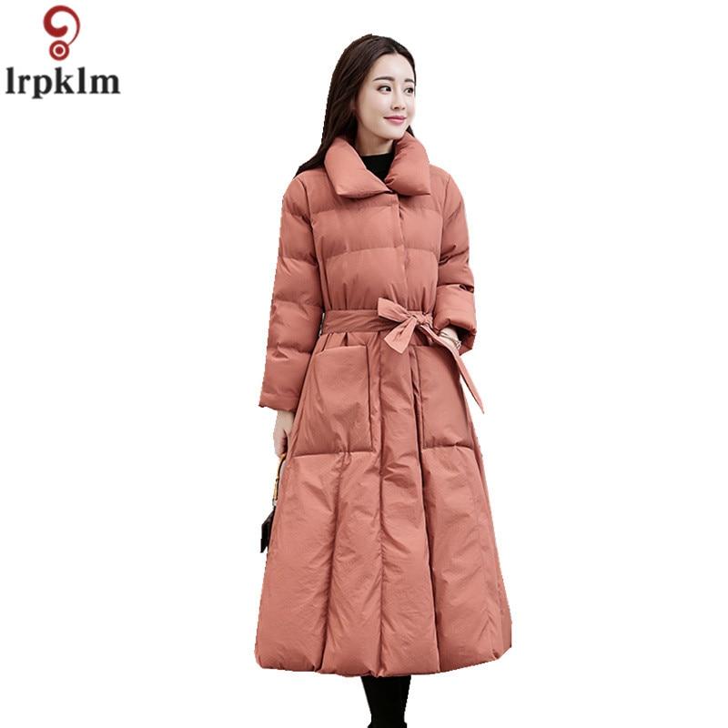 Plus Élégant Lâche Ch605 Pardessus Massif Dames leather Longue Nouvelle Femmes Red Ceinturé Taille Pink 2018 Vestes Wine Parka coréen Coton D'hiver black xw0waS8