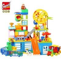 GOROCK 150Pcs Happy Amusement Park Big Size Building Block Sets Bricks Compatible Legoings Duploe For Children Christmas Gifts
