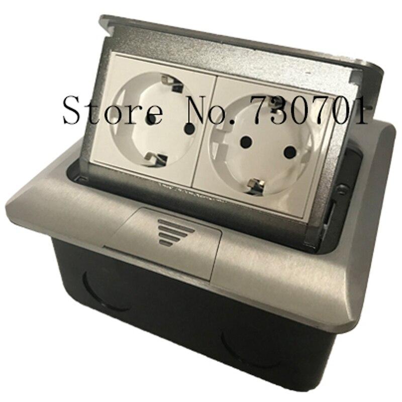 Embarqués De RU Entrepôt Aluminium Argent Panneau Standard de L'UE 2 Façon Pop Up Étage Socket Prise Électrique Modulaire Personnalisé