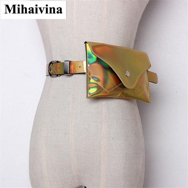 Mihaivina Fashion Women Laser Waist Bag Leather Belt Waterproof Bags Phone Female Walking Shopping Belly Belt Bag Fanny Pack.