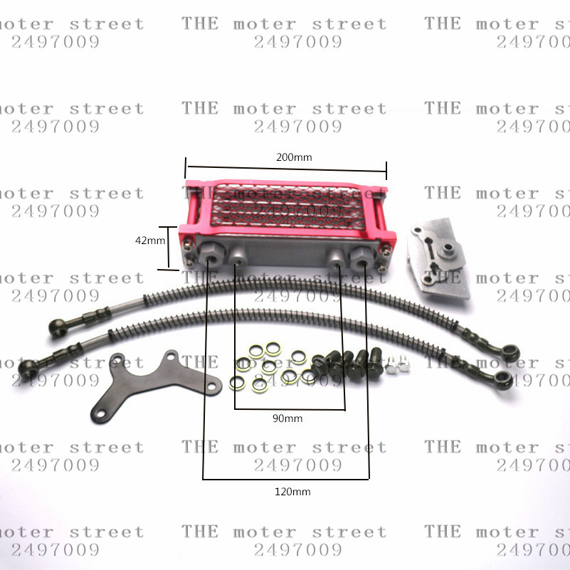 free shipping red Aluminum Oil Cooler Radiator Cooling Set For Engine ATV Motorcycle 50CC 70CC 90CC