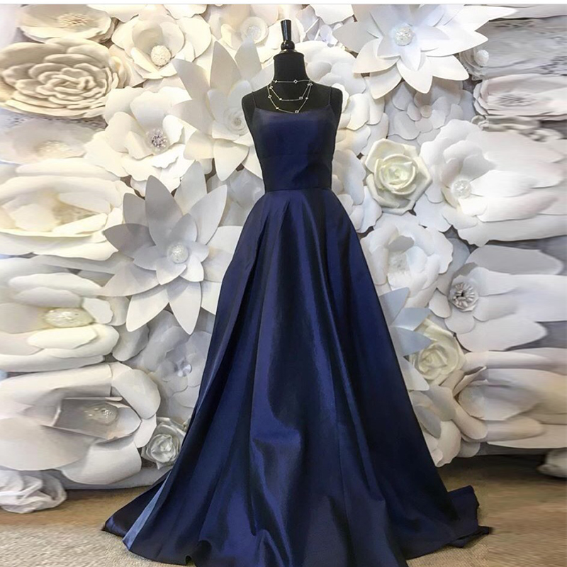 Simple A-line Prom Dresses Spaghetti Straps Navy Blue Vestidos De Formal Prom Gowns Cheap Long Women Formal Prom Party Dresses