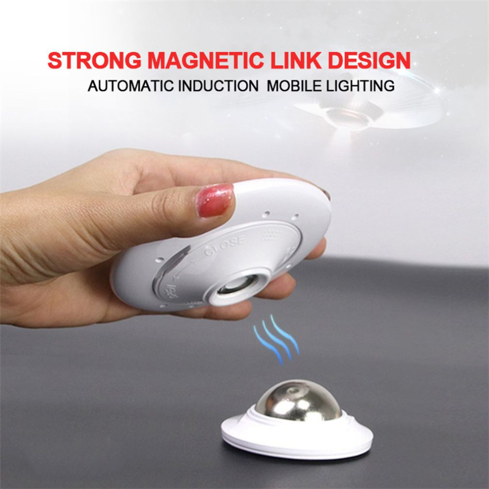 360 Degree Rotation Human Body Sensor Night Light with Strong Magnetic Holder UFO LED Lamp 2 Colors Rechargeable/Battey powered