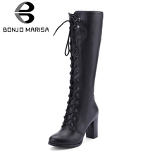 BONJOMARISA Big Size 34-43 Cool Knee High Boots Women High Heels Shoes Woman Party Footwear Ladies Lace Up Zipper Platform Boots 2018 newest fashion sexy party summer women boots high heels cut outs back lace up blue leahter shoes woman knee high boots