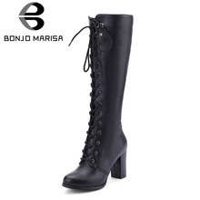 BONJOMARISA Große Größe 34-43 Kühle Knie Hohe Stiefel Frauen High Heels Schuhe Frau Partei Schuhe Damen Lace Up zipper Plattform Stiefel(China)