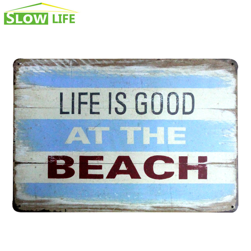 Life is good at beach metal tin sign barcafehouse wall for Life is good home decor