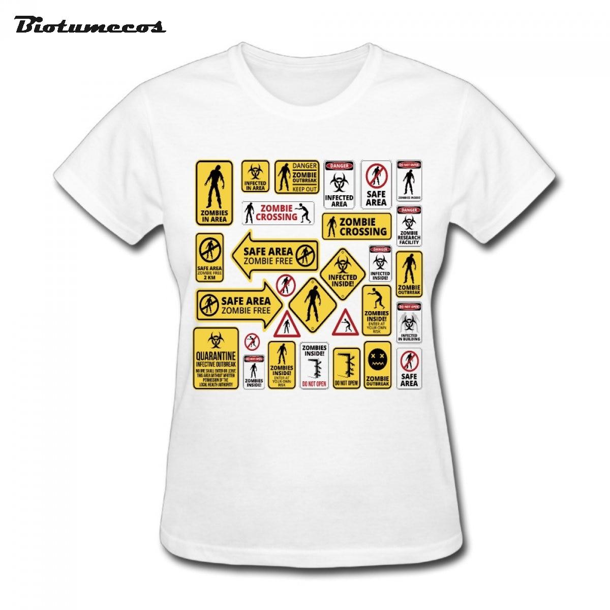 Зомби Предупреждение знак логотипы футболки Для женщин хлопок футболка с короткими рукавами модный топ Футболки для девочек wtss041