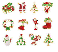 Midger Brand Metal Christmas Brooches Pins Men Women Snowman Santa Claus Boot Christmas Winter Collection Gift 17 Colors(China)