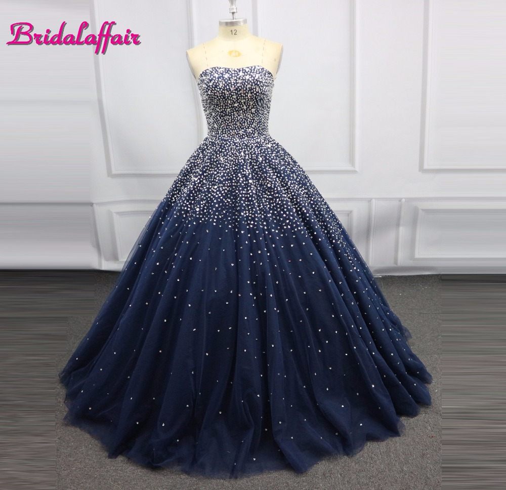 Navy Blue Luxury Beading Big Ball Gown Wedding