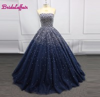 Navy Blue Luxury Beading Big Ball Gown Wedding Dress Photo Brilliant Pink Wedding Dresses 2018 Real Picture Gown Dress