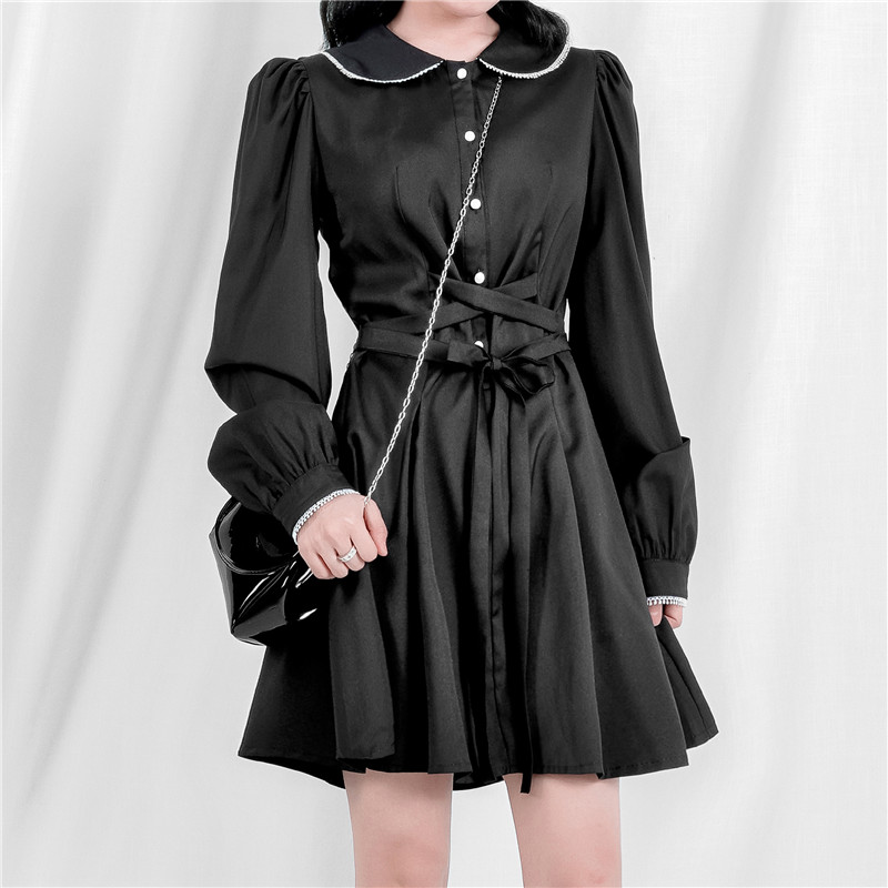 2019 vintage Lace Black Tunic Shirt Dress Women Long Sleeve Belt A Line Dress Elegant Fashion Female Mini Party Dresses V713