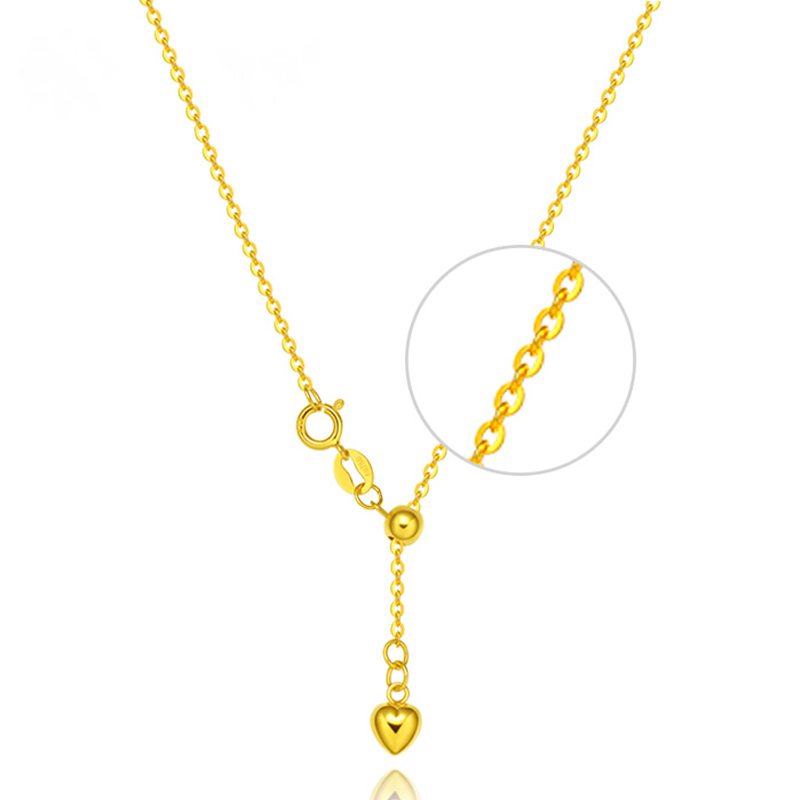 Robira Simple O Chain Necklace 18K Au750 Rose Gold Yellow White Heart Bijoux Collier Femme I Love You Necklaces Mujer yoursfs 18k rose white gold plated letter best mum heart necklace chain best mother s day gift