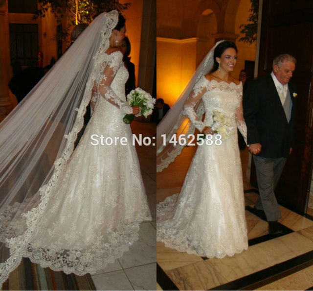 Royal Princess Style Long Sleeves Lace Wedding Gowns Vintage Bride ...