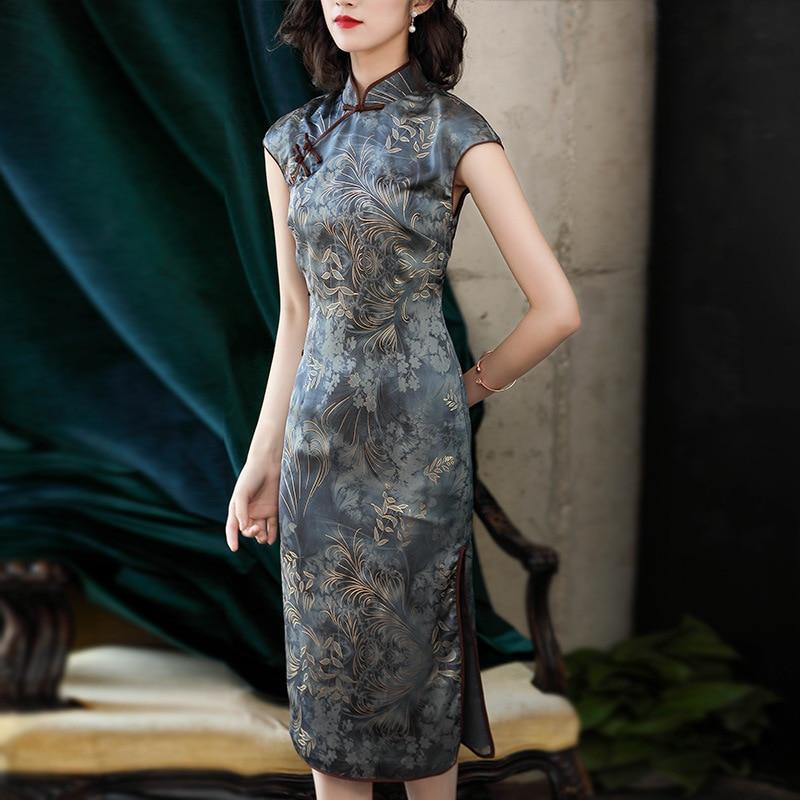 Qipao Lin Taille Col En Élégante Grande De Split Haut Montant Robes Imprimer D'été Pankou Gray Modèle Vintage Robe Blue Chinois Dame y8qyxIW1