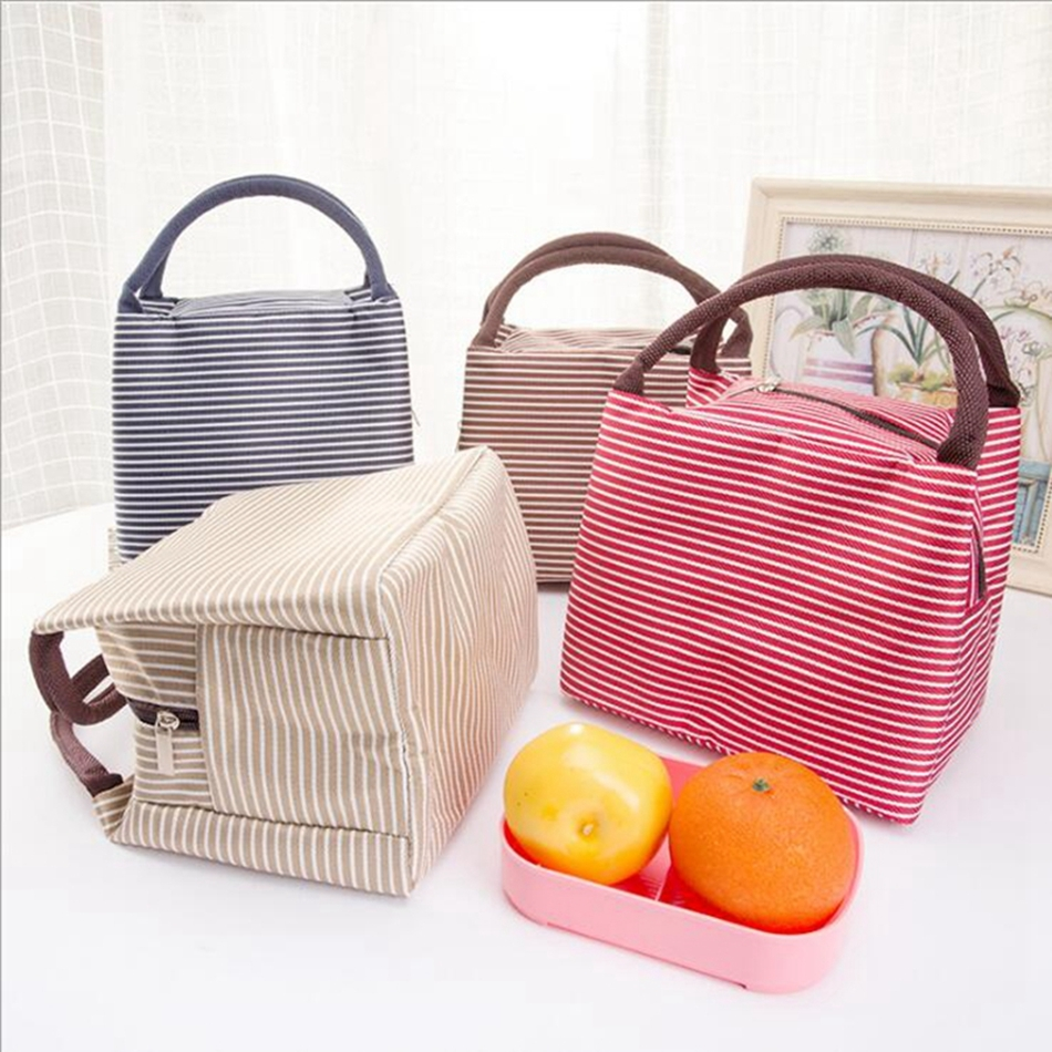 2018 Leisure Women Portable Lunch Bag Canvas Stripe Insulated Cooler Bags Thermal Food Picnic Lunch Bags Kids Lunch Box Bag Tote