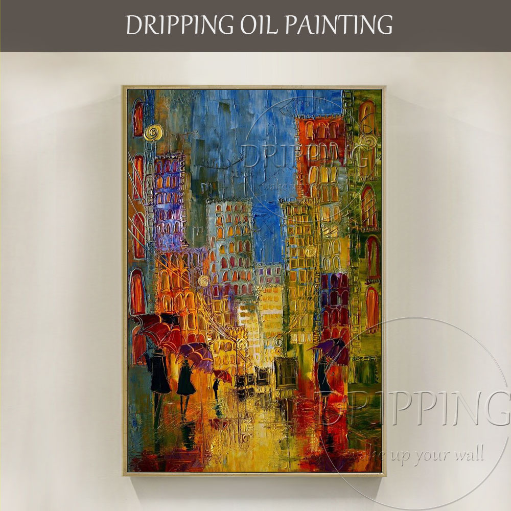 Us 39 5 50 Off Professional Artist Hand Painted Modern Abstract Street Oil Painting On Canvas People Walking In Rainy Street Oil Painting In