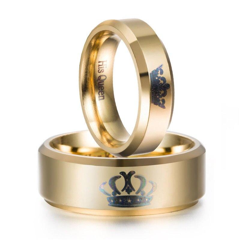 Король и queen пара золотые кольца Нержавеющаясталь Корона Кольца для пар любителей Любовь Обещание Кольца для Для мужчин Для женщин Прямая ...