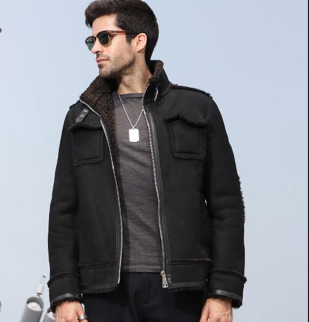 Мех один 2018 Новый Для мужчин Кожаная куртка качество натуральной овчины летную куртку Для мужчин короткая куртка зимние натуральная кожа п