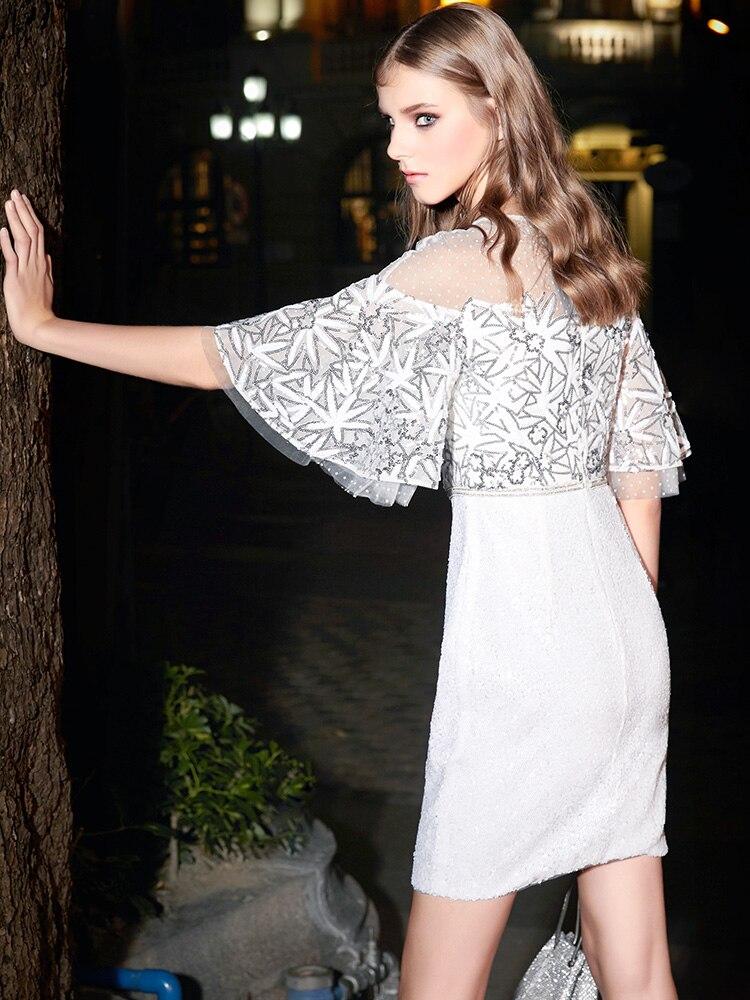 Robes Sexy Broderie Dentelle Q108 Blanc Causal Robe Coton Évider Mini Manches Courte Femmes Moitié Hn6vxCwq