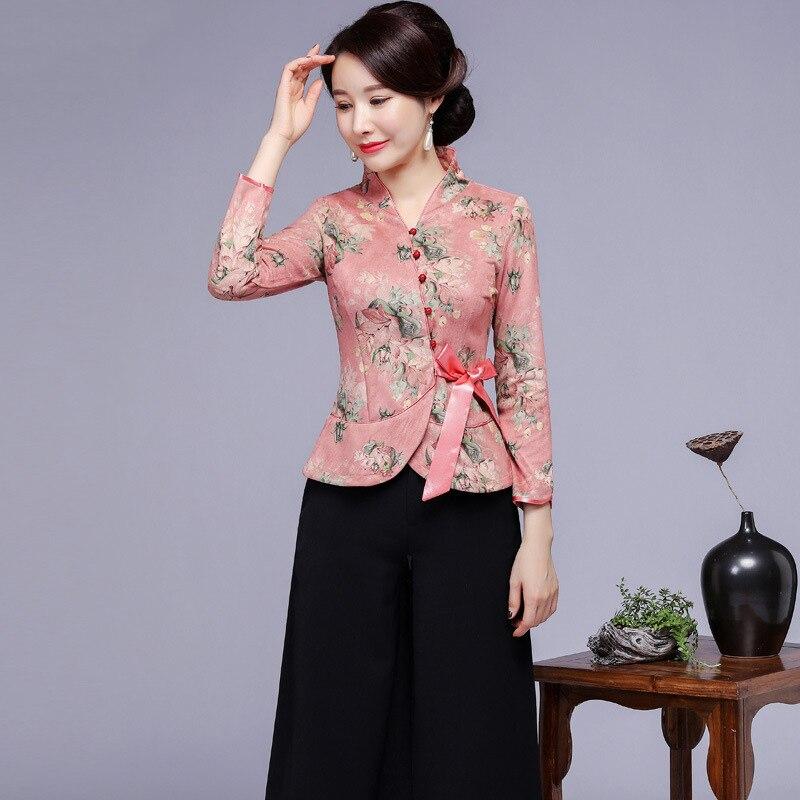 Vintage femmes amélioration fleur Tang vêtements Sexy Slim à manches longues chemise automne imprimé Blouse Style chinois vêtements grande taille 4XL