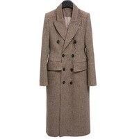 Шерстяное пальто женское длинное пальто зимнее Хаундстут клетчатое шерстяное пальто модное толстое теплое пальто Новинка 2018 высокое качес